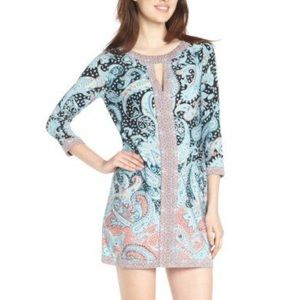 BCBGMaxazria Tahiti Blue Paisley Dress